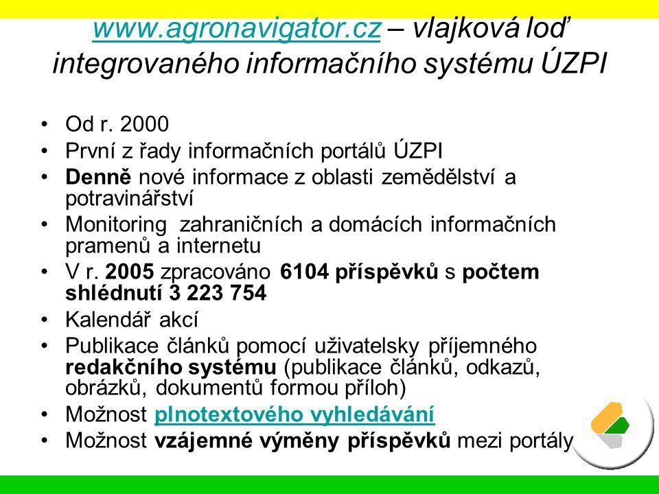 www.agronavigator.czwww.agronavigator.cz – vlajková loď integrovaného informačního systému ÚZPI Od r. 2000 První z řady informačních portálů ÚZPI Denn