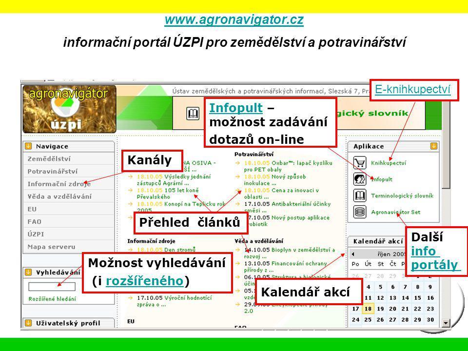 www.agronavigator.cz www.agronavigator.cz informační portál ÚZPI pro zemědělství a potravinářství Kanály Přehled článků InfopultInfopult – možnost zad
