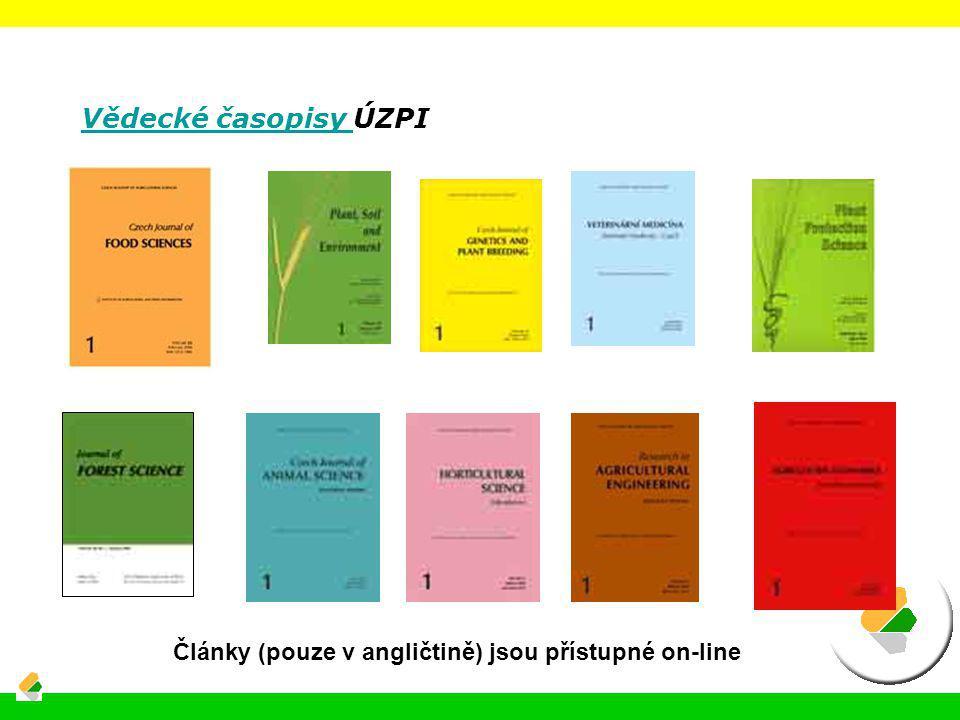 Vědecké časopisy Vědecké časopisy ÚZPI Články (pouze v angličtině) jsou přístupné on-line