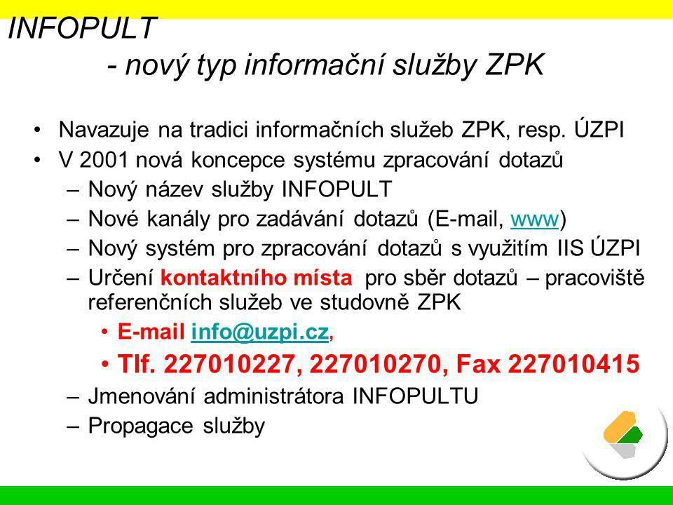 INFOPULT - nový typ informační služby ZPK Navazuje na tradici informačních služeb ZPK, resp. ÚZPI V 2001 nová koncepce systému zpracování dotazů –Nový