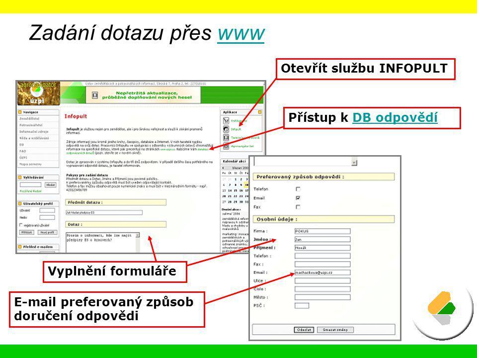 Zadání dotazu přes wwwwww Otevřít službu INFOPULT Přístup k DB odpovědíDB odpovědí Vyplnění formuláře E-mail preferovaný způsob doručení odpovědi