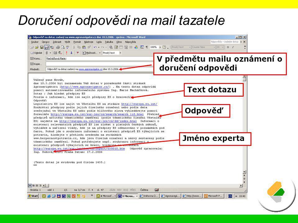 Doručení odpovědi na mail tazatele V předmětu mailu oznámení o doručení odpovědi Odpověď Jméno experta Text dotazu