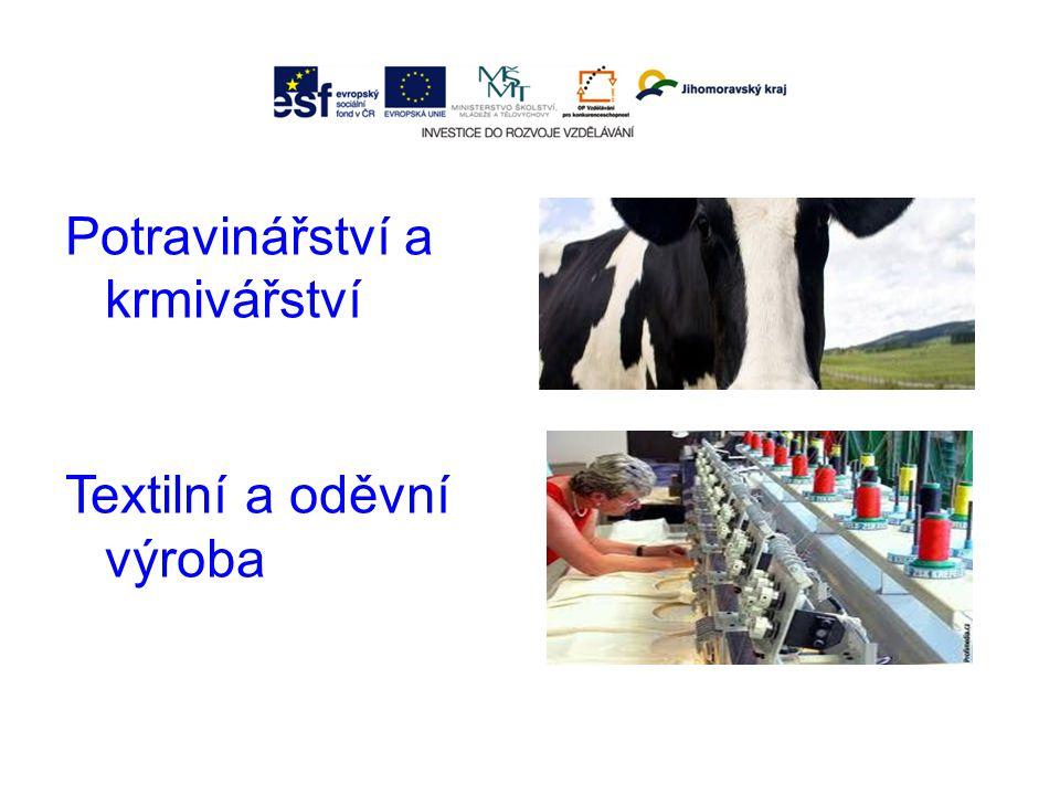 Potravinářství a krmivářství Textilní a oděvní výroba