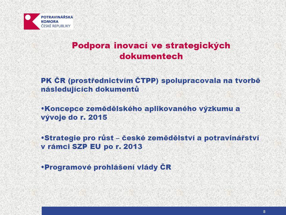 Podpora inovací ve strategických dokumentech PK ČR (prostřednictvím ČTPP) spolupracovala na tvorbě následujících dokumentů Koncepce zemědělského aplikovaného výzkumu a vývoje do r.