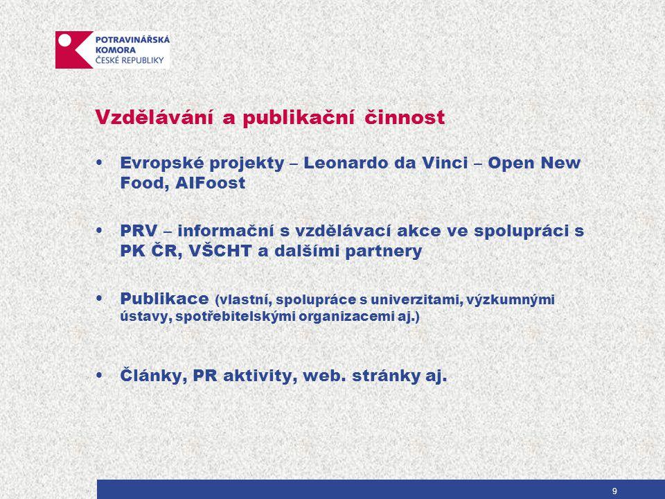 Vzdělávání a publikační činnost Evropské projekty – Leonardo da Vinci – Open New Food, AIFoost PRV – informační s vzdělávací akce ve spolupráci s PK ČR, VŠCHT a dalšími partnery Publikace (vlastní, spolupráce s univerzitami, výzkumnými ústavy, spotřebitelskými organizacemi aj.) Články, PR aktivity, web.