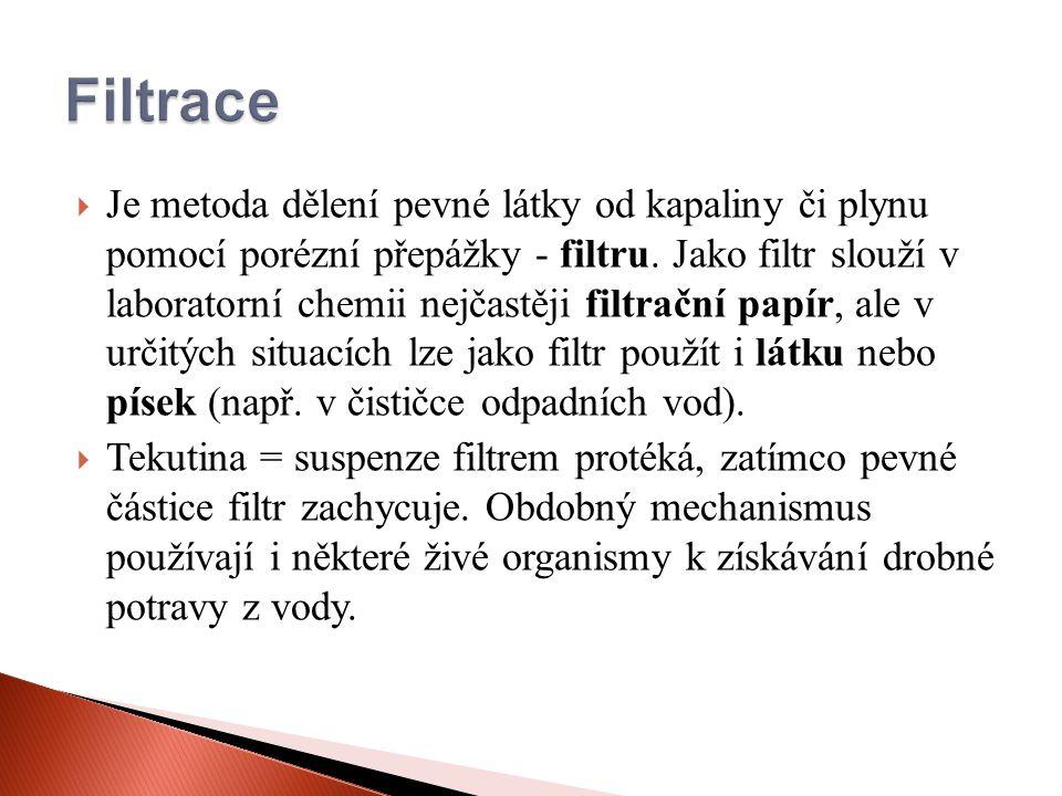  Je metoda dělení pevné látky od kapaliny či plynu pomocí porézní přepážky - filtru.