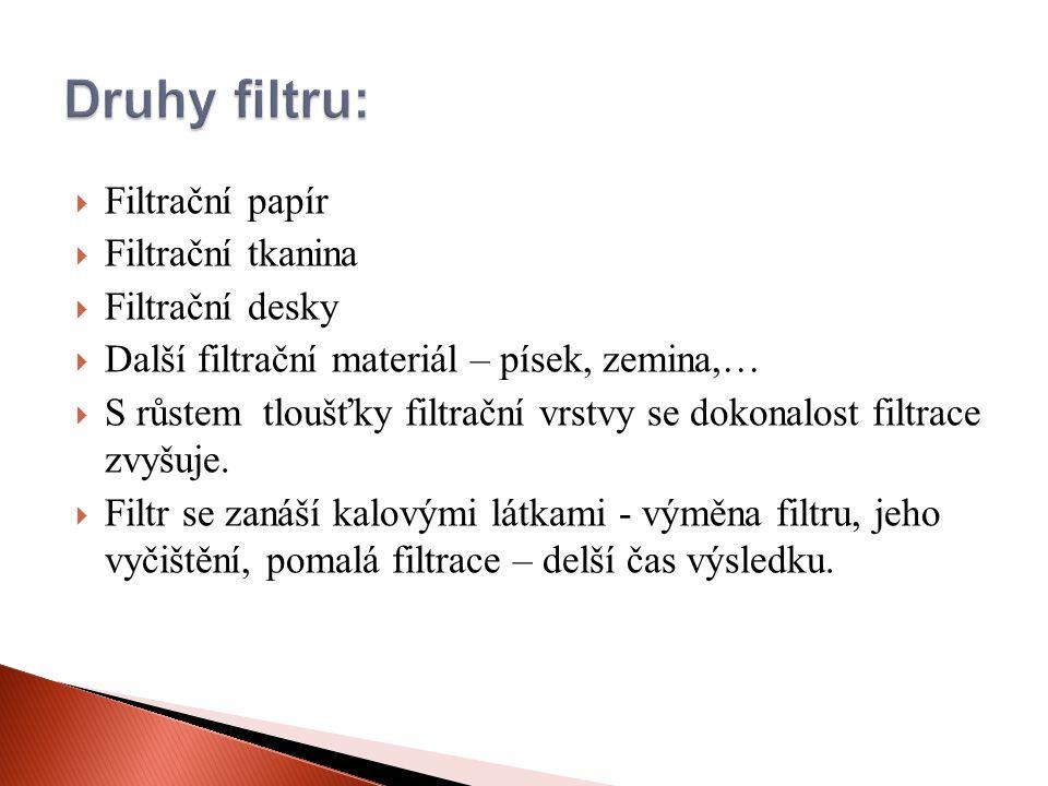  Filtrační papír  Filtrační tkanina  Filtrační desky  Další filtrační materiál – písek, zemina,…  S růstem tloušťky filtrační vrstvy se dokonalost filtrace zvyšuje.