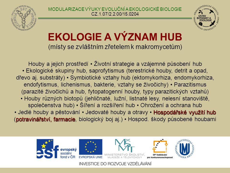 EKOLOGIE A VÝZNAM HUB (místy se zvláštním zřetelem k makromycetům) Houby a jejich prostředí Životní strategie a vzájemné působení hub Ekologické skupi