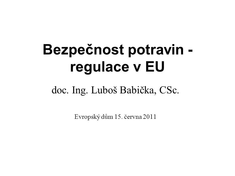 Bezpečnost potravin - regulace v EU doc. Ing. Luboš Babička, CSc. Evropský dům 15. června 2011