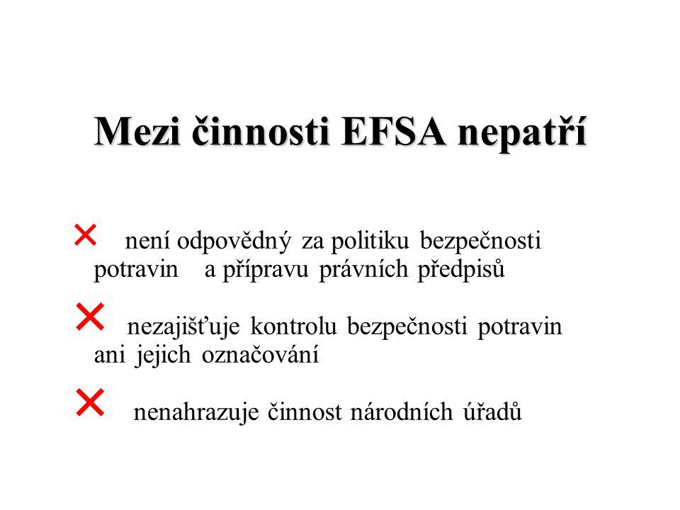Mezi činnosti EFSA nepatří  není odpovědný za politiku bezpečnosti potravin a přípravu právních předpisů  nezajišťuje kontrolu bezpečnosti potravin