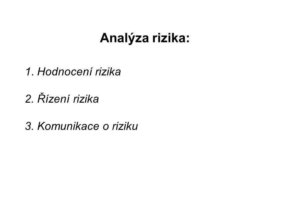 Analýza rizika: 1. Hodnocení rizika 2. Řízení rizika 3. Komunikace o riziku