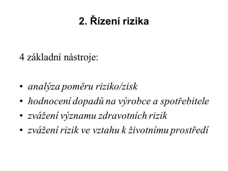 2. Řízení rizika 4 základní nástroje: analýza poměru riziko/zisk hodnocení dopadů na výrobce a spotřebitele zvážení významu zdravotních rizik zvážení
