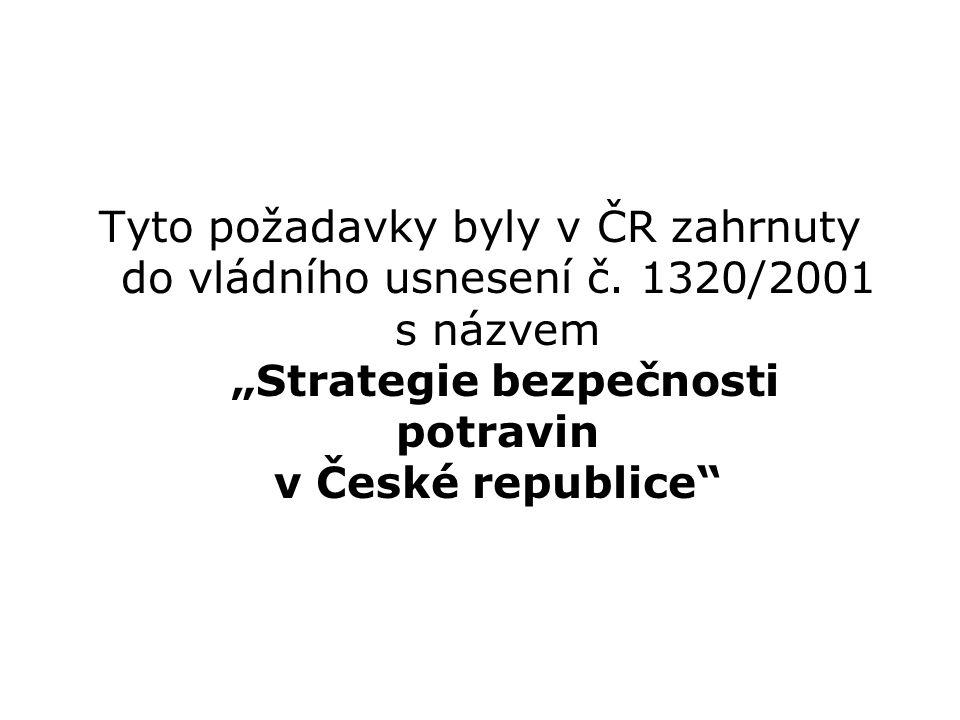 """Tyto požadavky byly v ČR zahrnuty do vládního usnesení č. 1320/2001 s názvem """"Strategie bezpečnosti potravin v České republice"""""""
