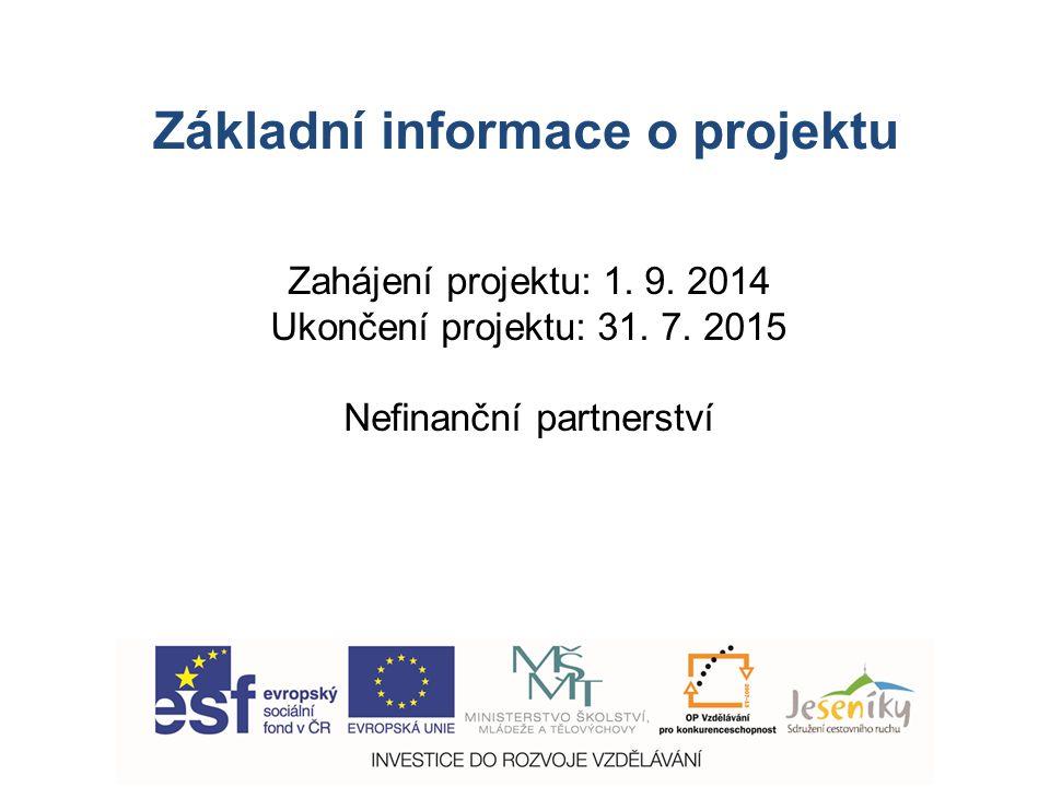 Základní informace o projektu Zahájení projektu: 1.