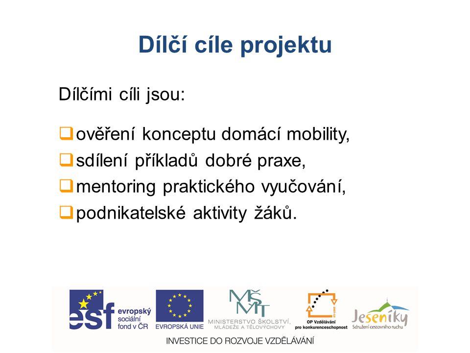 Dílčí cíle projektu Dílčími cíli jsou:  ověření konceptu domácí mobility,  sdílení příkladů dobré praxe,  mentoring praktického vyučování,  podnikatelské aktivity žáků.