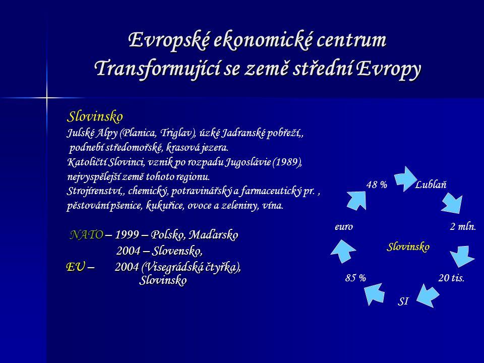 Evropské ekonomické centrum Transformující se země střední Evropy NATO – 1999 – Polsko, Maďarsko 2004 – Slovensko, 2004 – Slovensko, EU – 2004 (Visegr