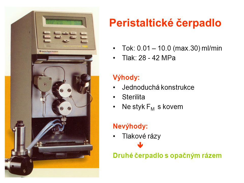 Peristaltické čerpadlo Tok: 0.01 – 10.0 (max.30) ml/min Tlak: 28 - 42 MPa Výhody: Jednoduchá konstrukce Sterilita Ne styk F M s kovem Nevýhody: Tlakov
