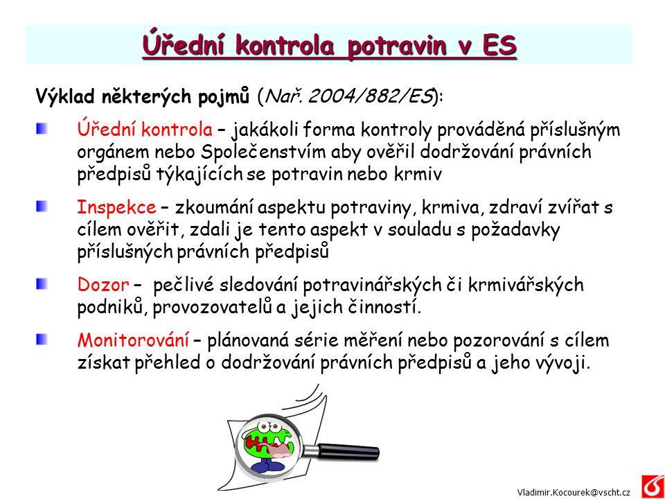 Úřední kontrola potravin v ES Výklad některých pojmů (Nař. 2004/882/ES): Úřední kontrola – jakákoli forma kontroly prováděná příslušným orgánem nebo S