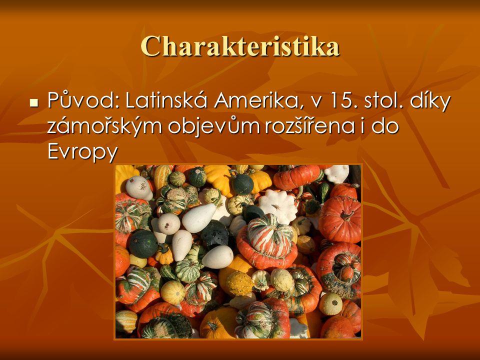 Cucurbita pepo – tykev obecná původně ze Střední Ameriky původně ze Střední Ameriky Dochovaná semena z období 5000 př.