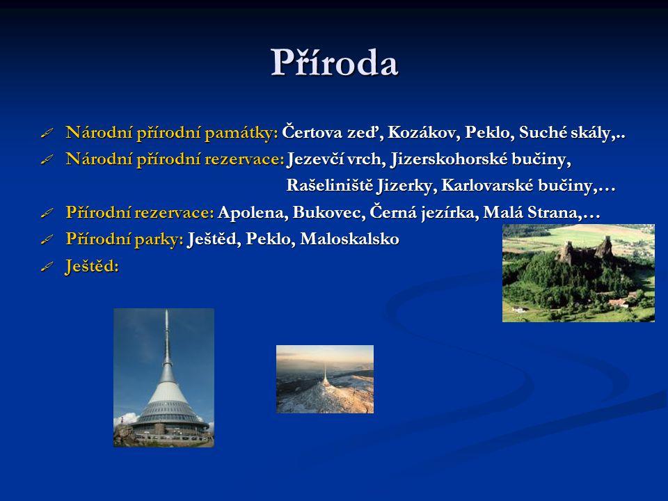 Příroda  Národní přírodní památky: Čertova zeď, Kozákov, Peklo, Suché skály,..