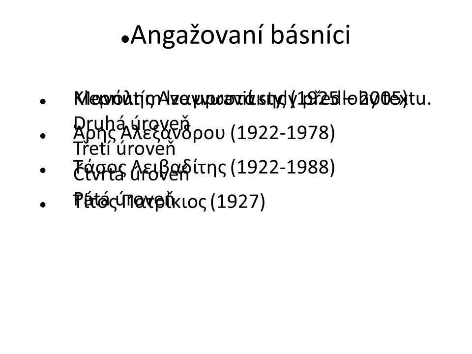 Klepnutím lze upravit styly předlohy textu. Druhá úroveň Třetí úroveň Čtvrtá úroveň Pátá úroveň Angažovaní básníci Μανόλης Αναγνωστάκης (1925 – 2005)