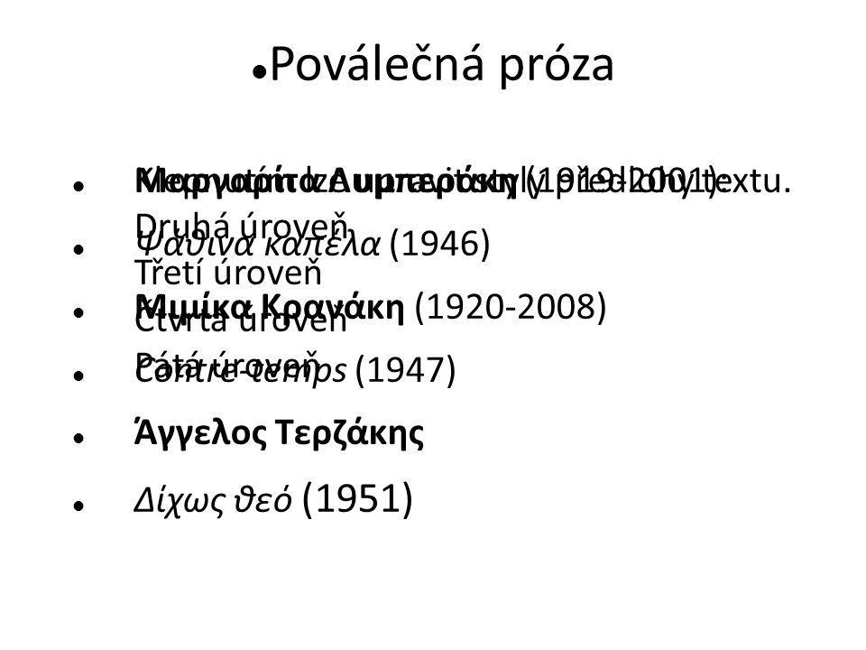 Klepnutím lze upravit styly předlohy textu. Druhá úroveň Třetí úroveň Čtvrtá úroveň Pátá úroveň Poválečná próza Μαργαρίτα Λυμπεράκη (1919-2001): Ψάθιν
