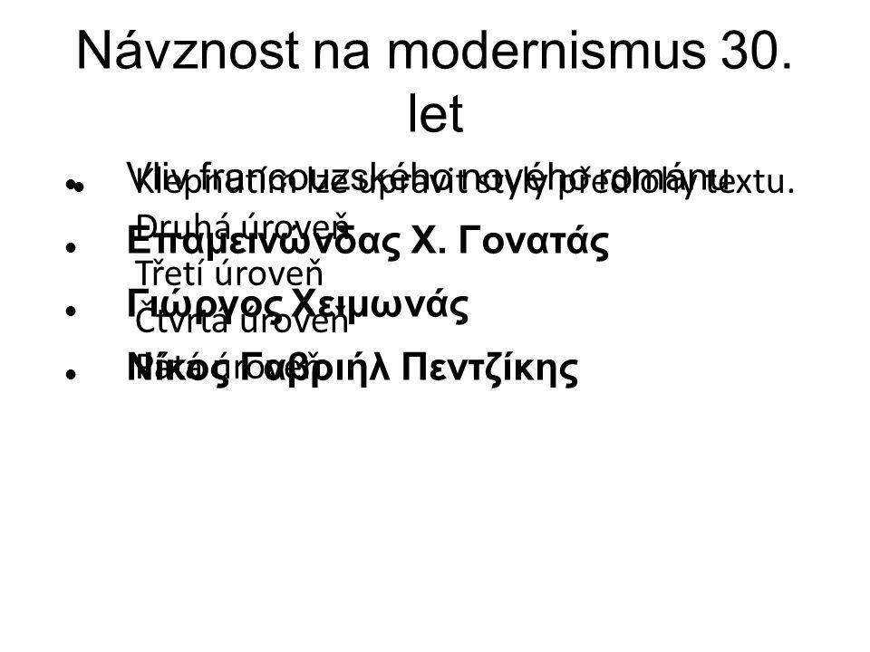 Klepnutím lze upravit styly předlohy textu. Druhá úroveň Třetí úroveň Čtvrtá úroveň Pátá úroveň Návznost na modernismus 30. let Vliv francouzského nov