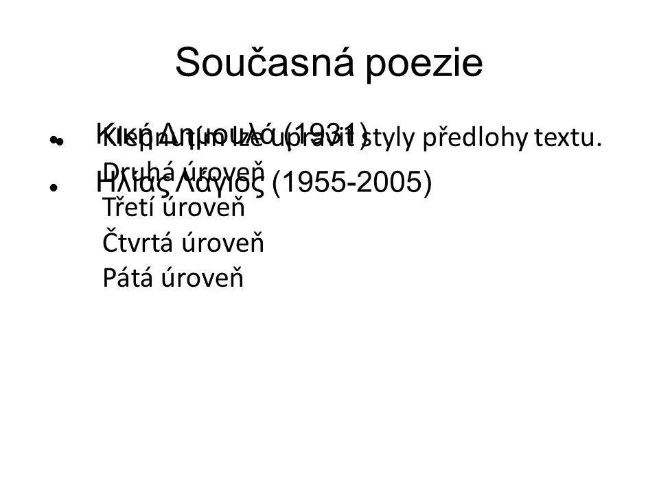 Klepnutím lze upravit styly předlohy textu. Druhá úroveň Třetí úroveň Čtvrtá úroveň Pátá úroveň Současná poezie Κική Δημουλά (1931) Ηλίας Λάγιος (1955