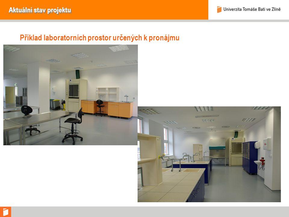 Aktuální stav projektu Příklad laboratorních prostor určených k pronájmu