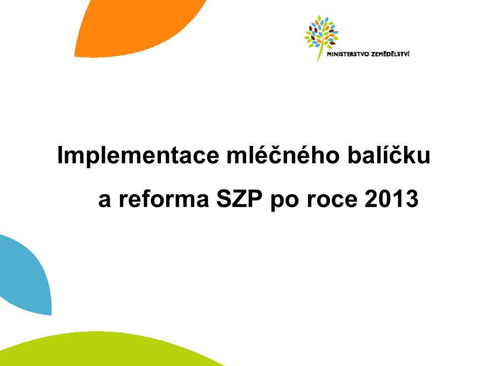 Implementace mléčného balíčku a reforma SZP po roce 2013