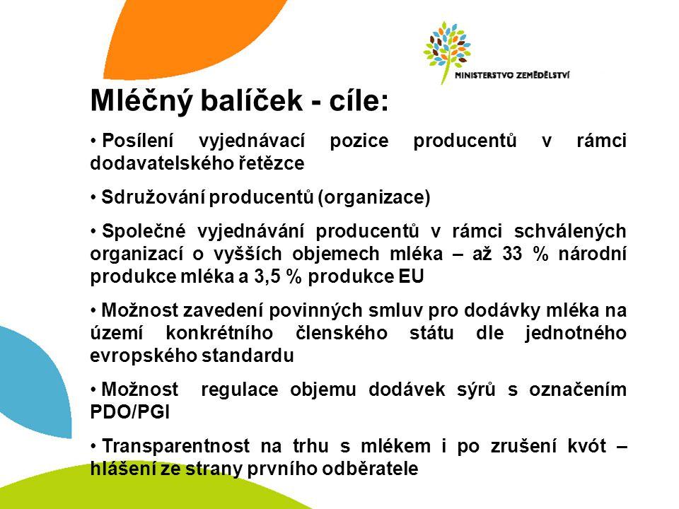 Mléčný balíček - cíle: Posílení vyjednávací pozice producentů v rámci dodavatelského řetězce Sdružování producentů (organizace) Společné vyjednávání producentů v rámci schválených organizací o vyšších objemech mléka – až 33 % národní produkce mléka a 3,5 % produkce EU Možnost zavedení povinných smluv pro dodávky mléka na území konkrétního členského státu dle jednotného evropského standardu Možnost regulace objemu dodávek sýrů s označením PDO/PGI Transparentnost na trhu s mlékem i po zrušení kvót – hlášení ze strany prvního odběratele