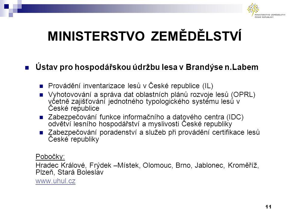 11 MINISTERSTVO ZEMĚDĚLSTVÍ Ústav pro hospodářskou údržbu lesa v Brandýse n.Labem Provádění inventarizace lesů v České republice (IL) Vyhotovování a s