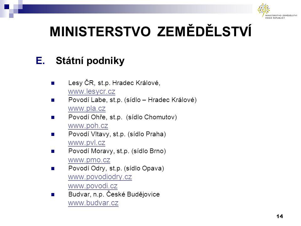 14 MINISTERSTVO ZEMĚDĚLSTVÍ E.Státní podniky Lesy ČR, st.p. Hradec Králové, www.lesycr.cz Povodí Labe, st.p. (sídlo – Hradec Králové) www.pla.cz Povod