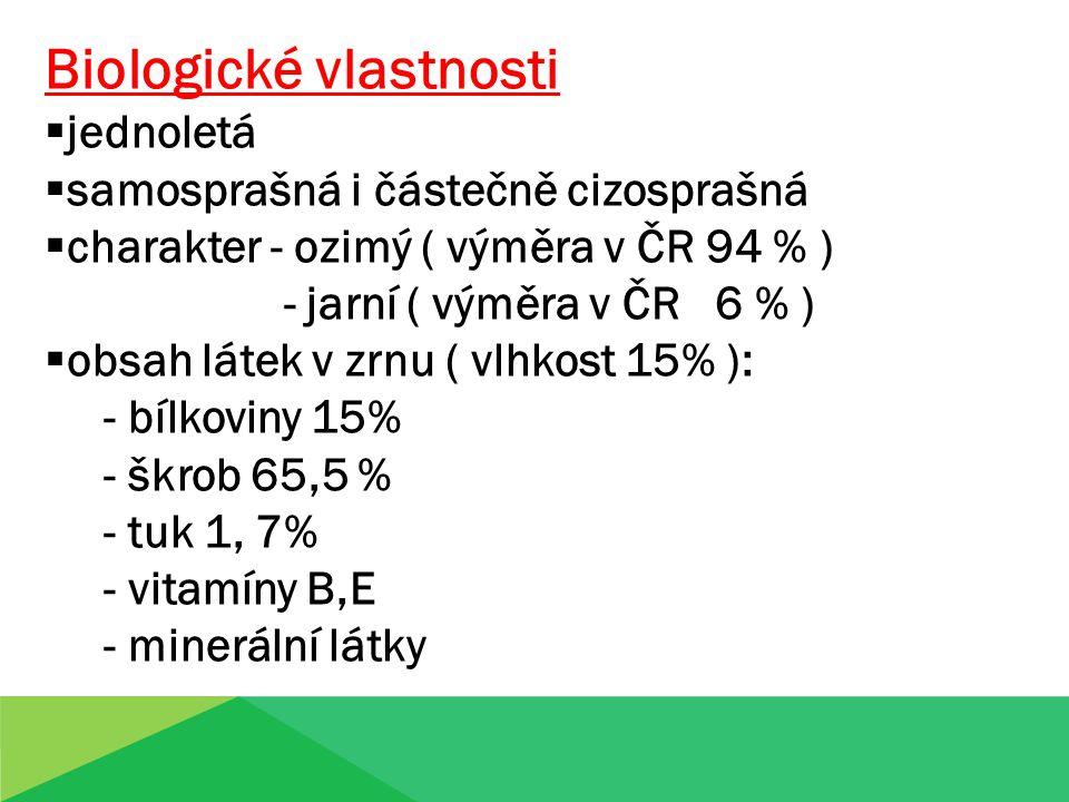 Biologické vlastnosti  jednoletá  samosprašná i částečně cizosprašná  charakter - ozimý ( výměra v ČR 94 % ) - jarní ( výměra v ČR 6 % )  obsah lá