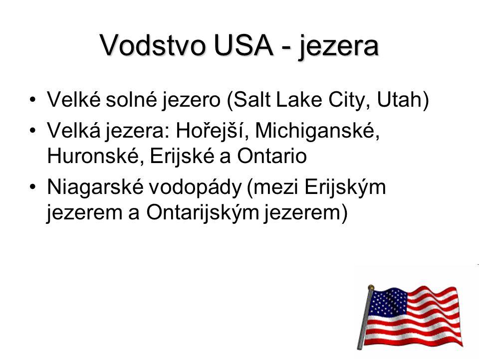 13 Vodstvo USA - jezera Velké solné jezero (Salt Lake City, Utah) Velká jezera: Hořejší, Michiganské, Huronské, Erijské a Ontario Niagarské vodopády (