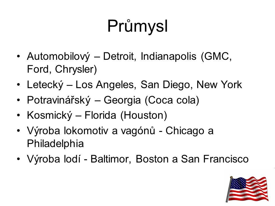 20 Průmysl Automobilový – Detroit, Indianapolis (GMC, Ford, Chrysler) Letecký – Los Angeles, San Diego, New York Potravinářský – Georgia (Coca cola) K