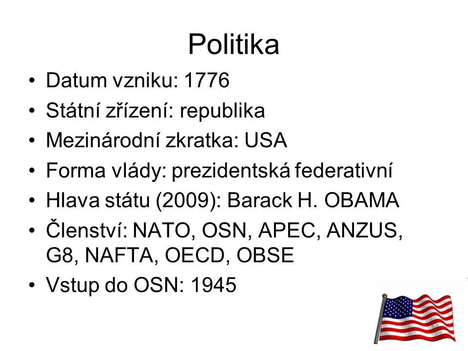 22 Politika Datum vzniku: 1776 Státní zřízení: republika Mezinárodní zkratka: USA Forma vlády: prezidentská federativní Hlava státu (2009): Barack H.