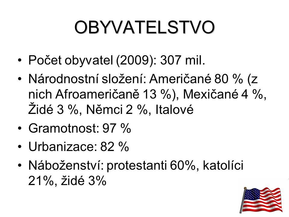 24 OBYVATELSTVO Počet obyvatel (2009): 307 mil. Národnostní složení: Američané 80 % (z nich Afroameričaně 13 %), Mexičané 4 %, Židé 3 %, Němci 2 %, It