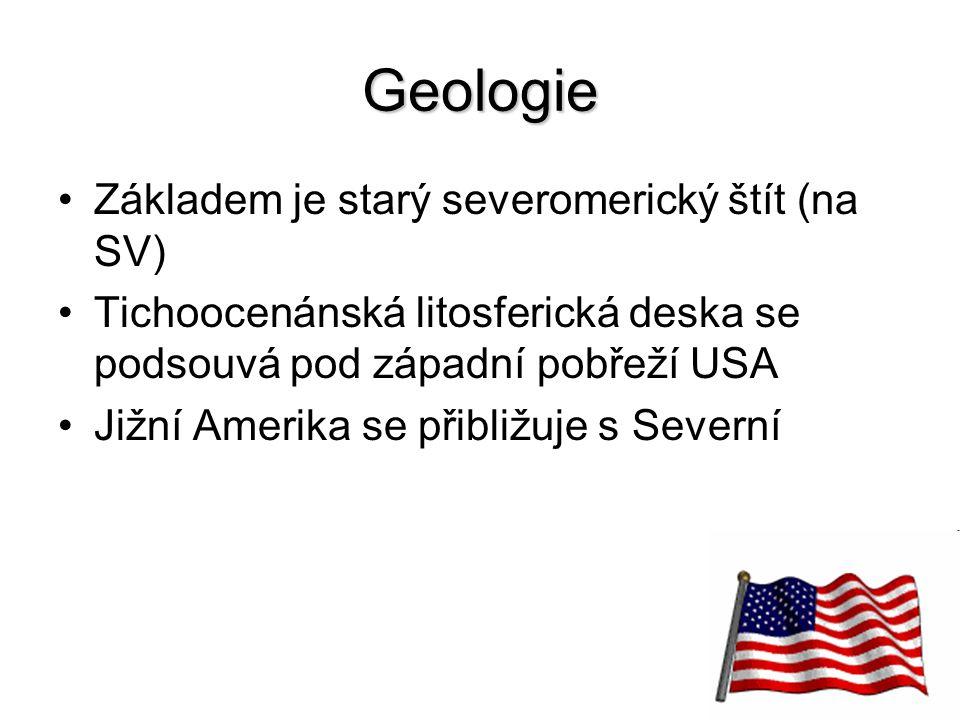 8 Geologie Základem je starý severomerický štít (na SV) Tichoocenánská litosferická deska se podsouvá pod západní pobřeží USA Jižní Amerika se přibliž