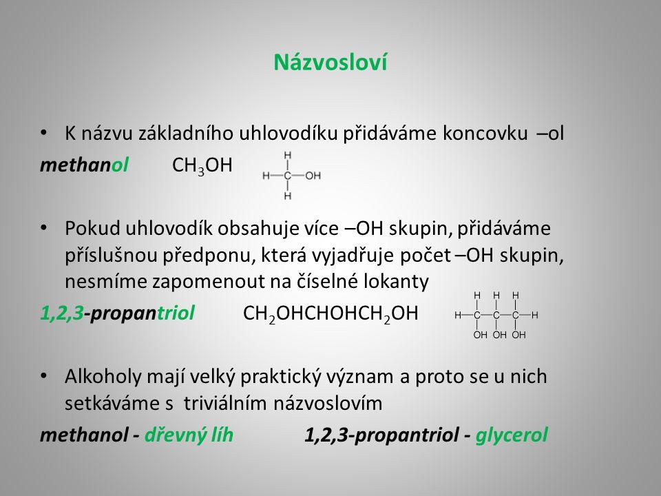 Názvosloví K názvu základního uhlovodíku přidáváme koncovku ─ol methanolCH 3 OH Pokud uhlovodík obsahuje více –OH skupin, přidáváme příslušnou předpon