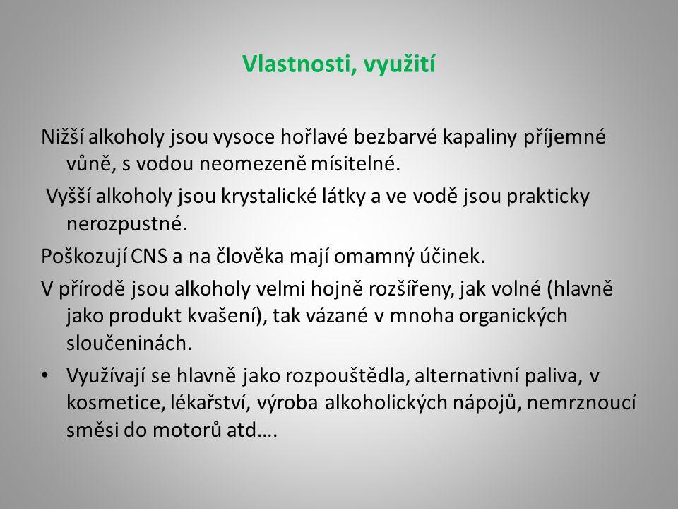 Zástupci Methanol (methylalkohol, dřevný líh) – CH 3 OH JE JEDOVATÝ !!!!!.
