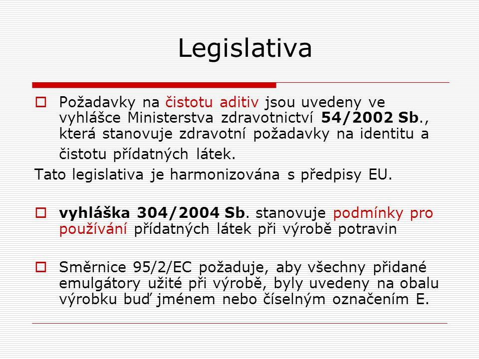 Legislativa  Požadavky na čistotu aditiv jsou uvedeny ve vyhlášce Ministerstva zdravotnictví 54/2002 Sb., která stanovuje zdravotní požadavky na iden