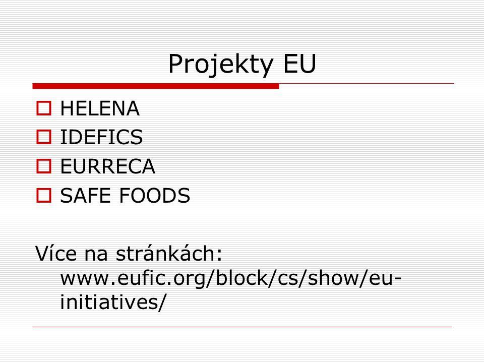 Projekty EU  HELENA  IDEFICS  EURRECA  SAFE FOODS Více na stránkách: www.eufic.org/block/cs/show/eu- initiatives/