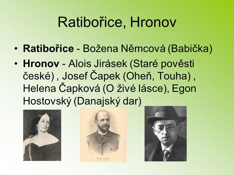 Ratibořice, Hronov Ratibořice - Božena Němcová (Babička) Hronov - Alois Jirásek (Staré pověsti české), Josef Čapek (Oheň, Touha), Helena Čapková (O ži