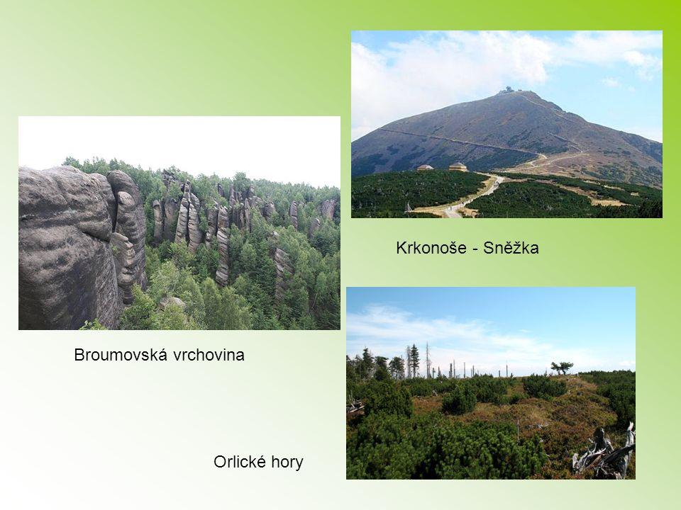 Broumovská vrchovina Orlické hory Krkonoše - Sněžka