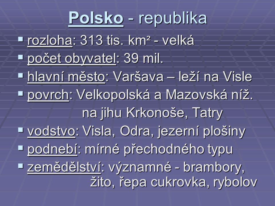 Polsko - republika  rozloha: 313 tis. km ² - velká  počet obyvatel: 39 mil.  hlavní město: Varšava – leží na Visle  povrch: Velkopolská a Mazovská