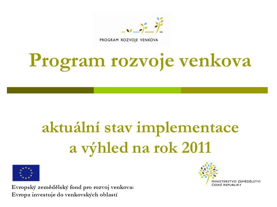 Program rozvoje venkova aktuální stav implementace a výhled na rok 2011 Evropský zemědělský fond pro rozvoj venkova: Evropa investuje do venkovských oblastí