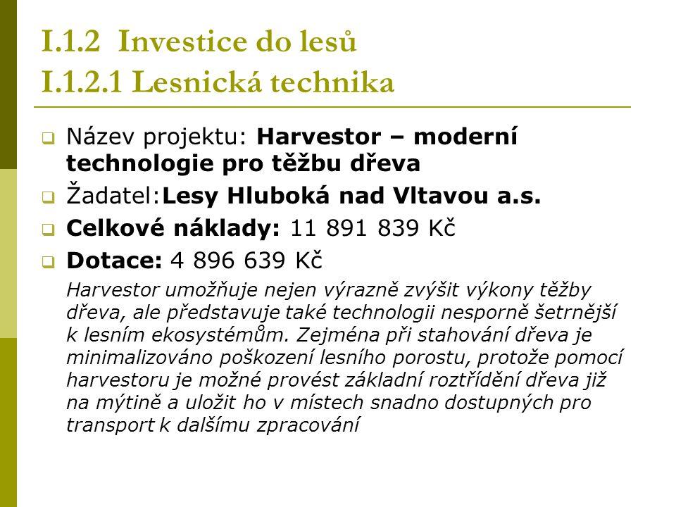 I.1.2 Investice do lesů I.1.2.1 Lesnická technika  Název projektu: Harvestor – moderní technologie pro těžbu dřeva  Žadatel:Lesy Hluboká nad Vltavou a.s.
