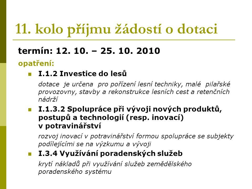 11. kolo příjmu žádostí o dotaci termín: 12. 10.