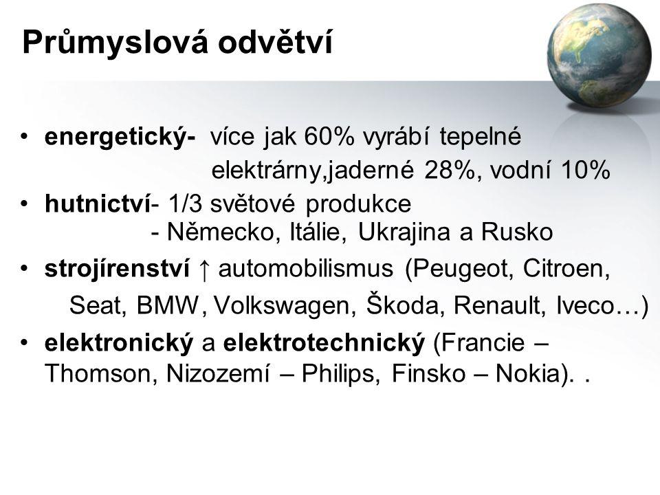 Průmyslová odvětví energetický- více jak 60% vyrábí tepelné elektrárny,jaderné 28%, vodní 10% hutnictví- 1/3 světové produkce - Německo, Itálie, Ukrajina a Rusko strojírenství ↑ automobilismus (Peugeot, Citroen, Seat, BMW, Volkswagen, Škoda, Renault, Iveco…) elektronický a elektrotechnický (Francie – Thomson, Nizozemí – Philips, Finsko – Nokia)..